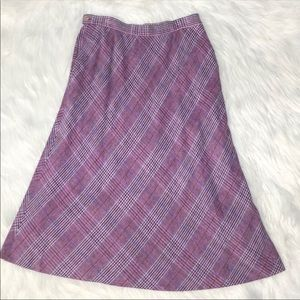 Vintage cashmere plaid midi skirt with pockets Sm